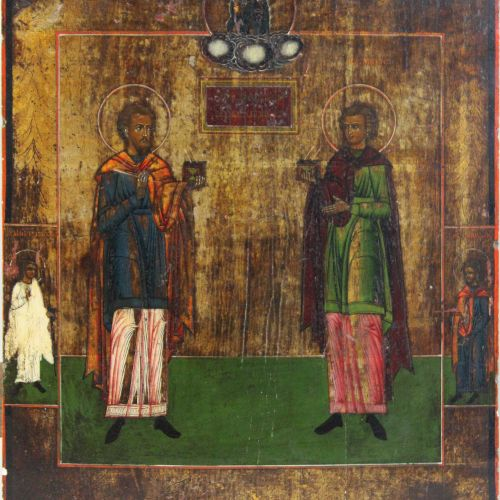 Hl. Kosmas und hl. Damian, Ikone, Zentralrussland, um 1800 Saint Cosmas et Saint…
