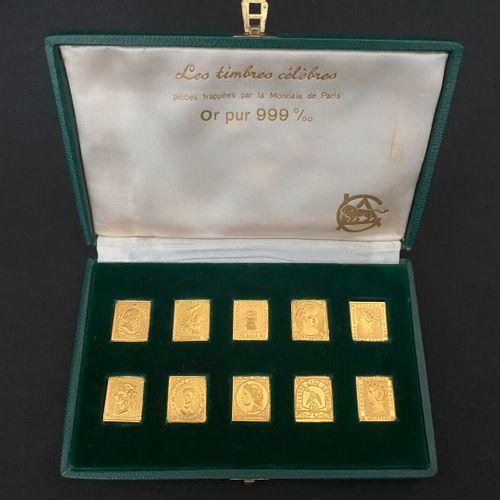 Les Timbres Célèbres 10 pièces en or pur 24 carats 999°/°° frappées par la Monna…