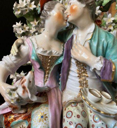 Polychrome porcelain subject depicting a gallant scene  31 x 21 x 15 cm (acciden…