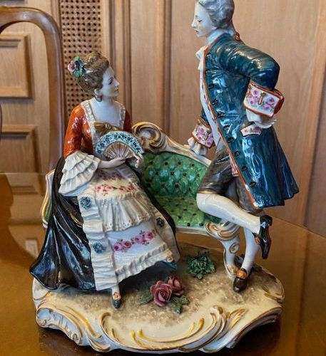 Polychrome porcelain subject depicting a gallant scene  Mark in blue  23 x 20 x …