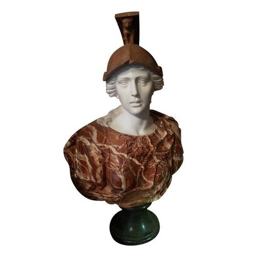 Polychrome marble bust of Minerva in the taste of Antiquity  20th century 92 x …