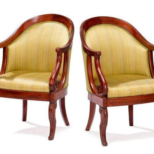 Paire de fauteuils Restauration en acajou, estampille de Jeanselme Paire de faut…