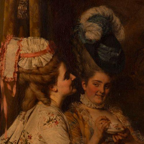"""Heinrich LOSSOW (1843 - 1897), """"Scène galante"""", huile sur toile, sbg. 68x85  cm"""