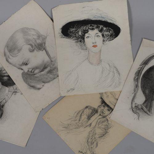 一套五幅铅笔、钢笔、墨水和水彩画,研究和一个女人的肖像。  31 x 25厘米左右。