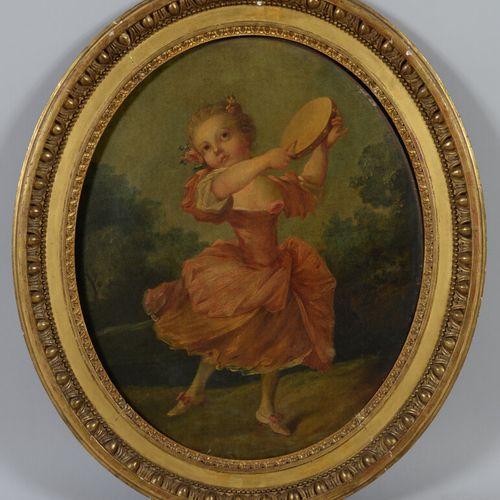 继让 巴蒂斯特 胡埃之后的19世纪法国学校  拿着手鼓的年轻女孩  戴着花冠的小男孩  两个椭圆形的布面油画。  65 x 53 厘米  出处:背面的标签是19…