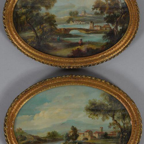 威尔逊(19世纪英国学派  动画景观  椭圆形面板上的两幅油画,其中一幅左下方有签名。  12 x 17 cm