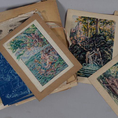 Lot d'environ 30 dessins, crayon, aquarelle  Début du XXème siècle