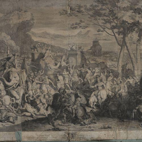 伯纳德 皮卡特(1673 1733  亚历山大之战  粘贴在纸上的黑色雕版画。  69 x 151厘米  众多事故中的零部件丢失