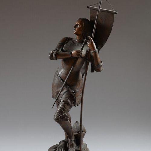 圣女贞德背着圣女的标准  青铜色斑驳的雷古拉主题。  身高106厘米  底座背面有压痕,有两处事故,标准缺失