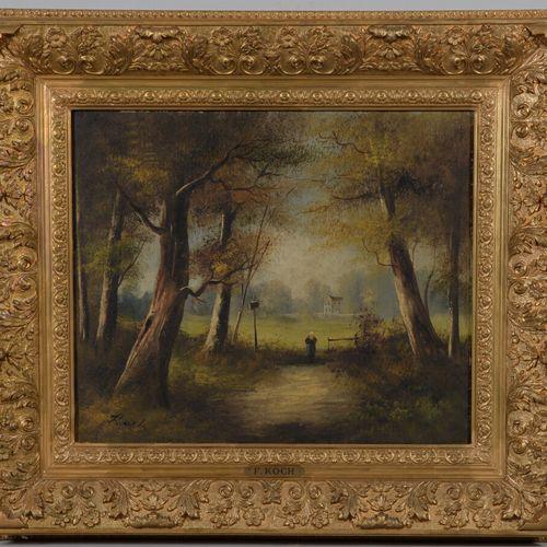 F.KOCH (20岁)  森林里的婴儿车  布面油画,左下方有签名。  46 x 55厘米