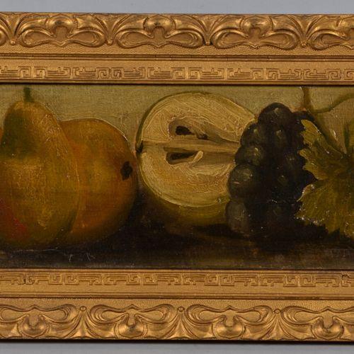 Ecole MODERNE  Poires et raisins  Huile sur toile marouflée sur panneau.  14.5 x…