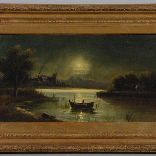 19世纪的法国学校  月光下的风景  布面油画。  31 x 61 cm