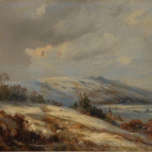 Ecole du XIXème siècle  Paysage de neige  Huile sur panneau.  21 x 26 cm  Sans c…