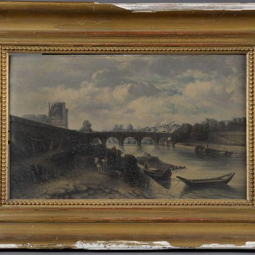 Jeanne Mathilde HERBELIN (1820 1904)  Vue du Pont Royal à Paris  Huile sur panne…