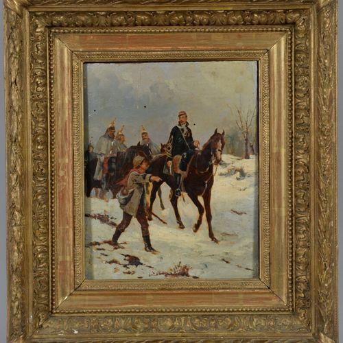 19世纪的法国学校  年轻男孩带领一群士兵  板上油彩。镀金灰泥框架。  26 x 21 厘米  扭曲的面板