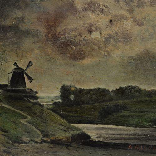 A. MIAULT (XIX XXème siècle)  Paysage au moulin  Huile sur panneau signé en bas …