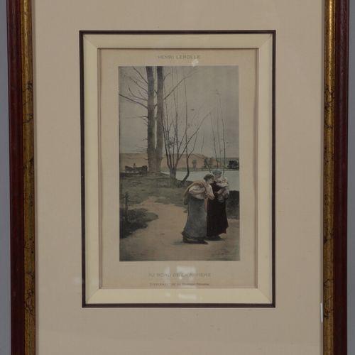 两幅带框的复制品   Henri LEROLLE.在河的边缘。30 x 20厘米   古老的鲁昂。33 x 23 cm