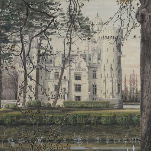 H. ROUZON (XIX XXème)  Vue du Château de la Mothe Chandenier  Aquarelle signée e…