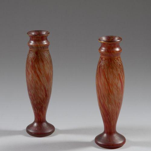 LEGRAS  一对橙红色的玛瑙玻璃花瓶。  20世纪初  高度34厘米