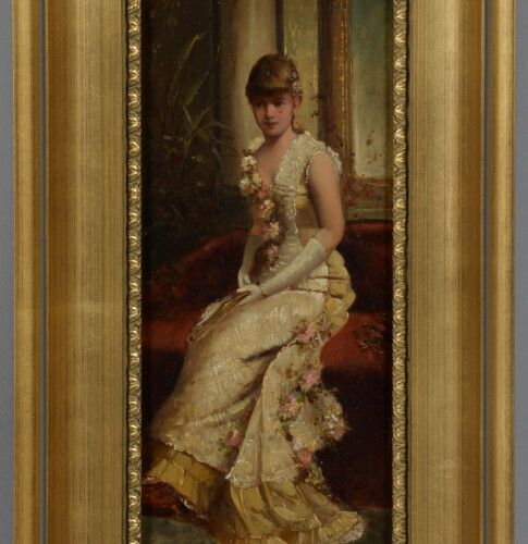 GENTILI (XIX XXème)  Jeune fille au divan  Jeune fille au balcon  Deux huiles su…