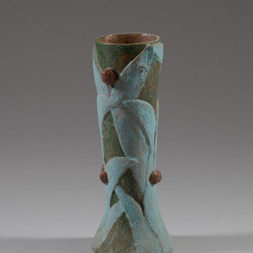 Vase cylindrique à base évasée en céramique émaillée ocre, bleue et vert avec dé…