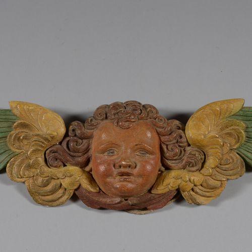 多色石膏的装饰元素,代表一个小天使的头。  长42.5厘米