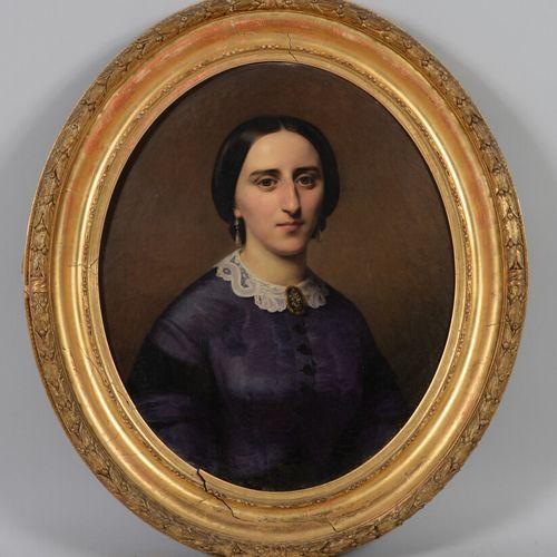 希波吕特 多米尼克 霍尔菲德(1804 1872)  一个人的画像  一个女人的画像  两个椭圆形的布面油画,一个左下角有签名。  66 x 55.5厘米