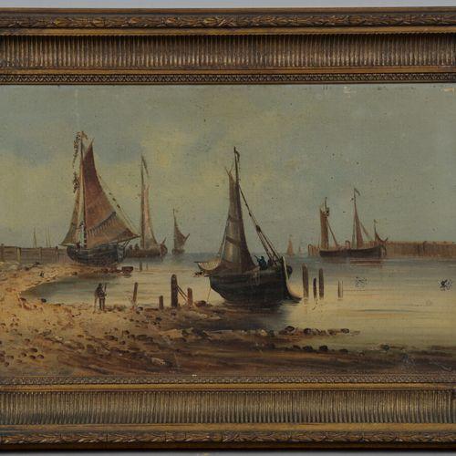 SMITH (XIXème siècle)  Bateaux de pêche au mouillage  Huile sur toile signée en …