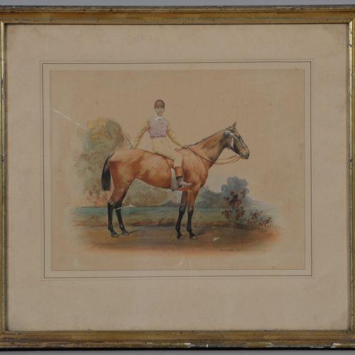 A.梅尔西尔(第十九 二十届)  骑师  水彩画,右下方有签名。  22.5 x 29.5厘米
