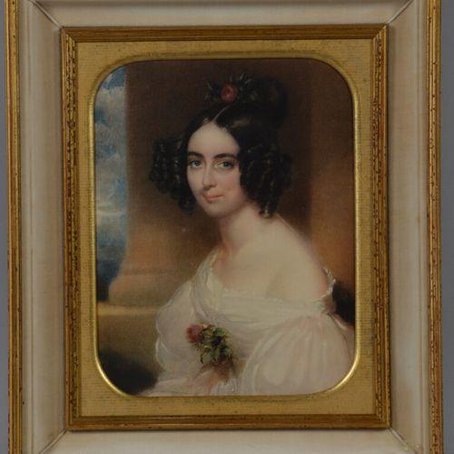 19世纪的法国学校  一位年轻女性的画像  水彩画。  26 x 39.5 厘米
