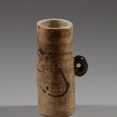 POTERIE DU COLOMBIER  Vase en grès partiellement émaillé brun et or à une prise …