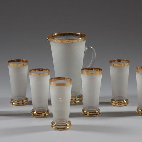 Service à orangeade en verre givré blanc et liseré doré comprenant un pichet et …