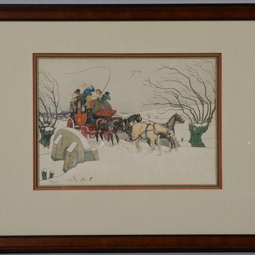 D'après HARRY ELIOTT  La diligence  Deux reproductions encadrées.  24 x 34 cm