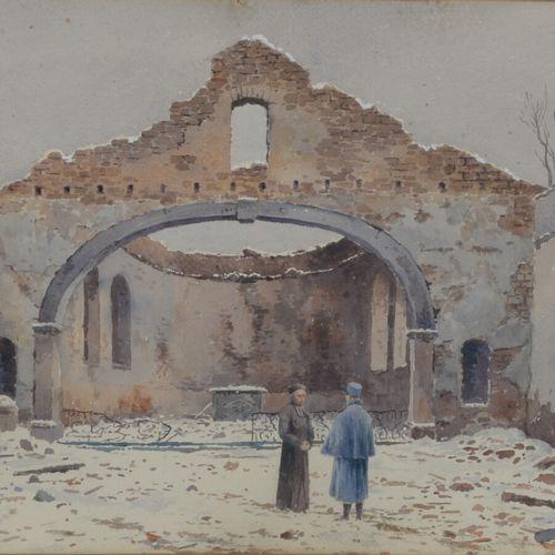 Lina BILL (1855 1936)  Soldat et Curé sous une église en ruine  Aquarelle signée…
