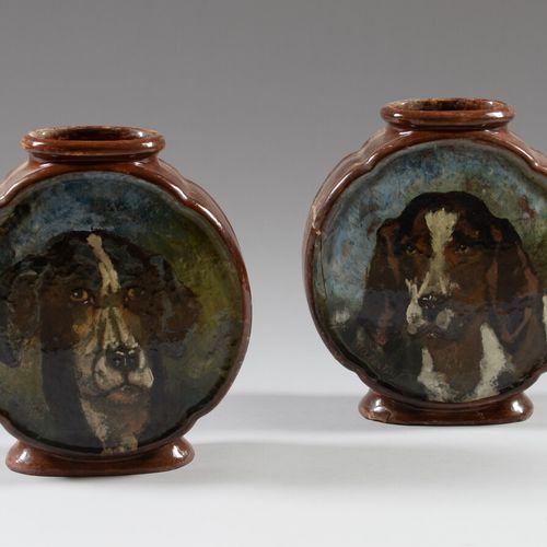 马丁努斯 安东尼斯 库伊滕布伦威尔(1821 1897)。  HAVILAND & Co LIMOGES  一对陶制葫芦形花瓶,用多色的狗头装饰,署名Marti…