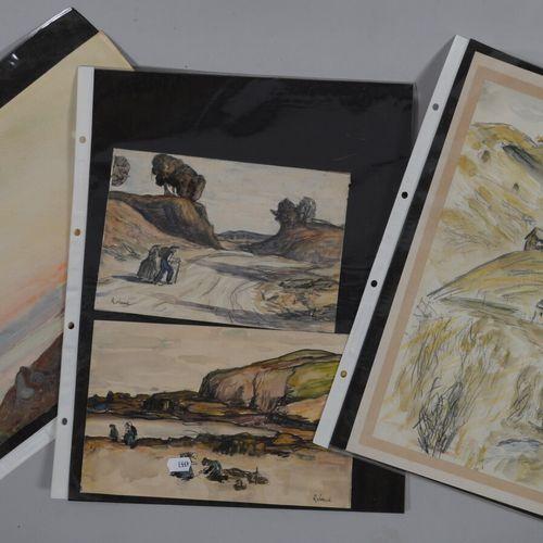 现代学校  四幅纸上水彩画表现了包括布列塔尼海岸在内的风景。  35 x 25和16 x 24厘米  无框架