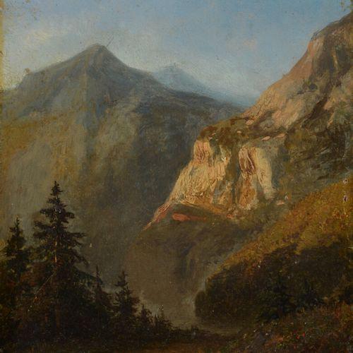 19世纪的学校  山地景观  板上油彩。  15 x 13 cm  无框架