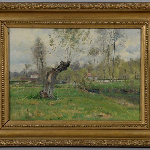 Ecole FRANCAISE vers 1900  Paysage avec un cour d'eau  Huile sur toile.  33 x 46…