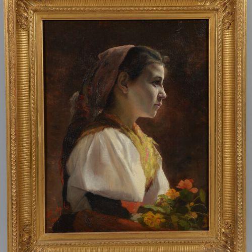 Ecole FRANCAISE de la fin du XIXème siècle  Portrait de jeune fille  Huile sur t…