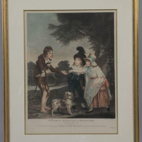 Quatre gravures en couleurs:   Le Contrat. D'après Fragonard. 40 x 47 cm   La C…