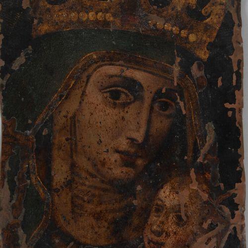 Ecole RUSSE du XVIIIème siècle  Vierge couronnée à l'enfant Jésus  Cuivre.  22 x…