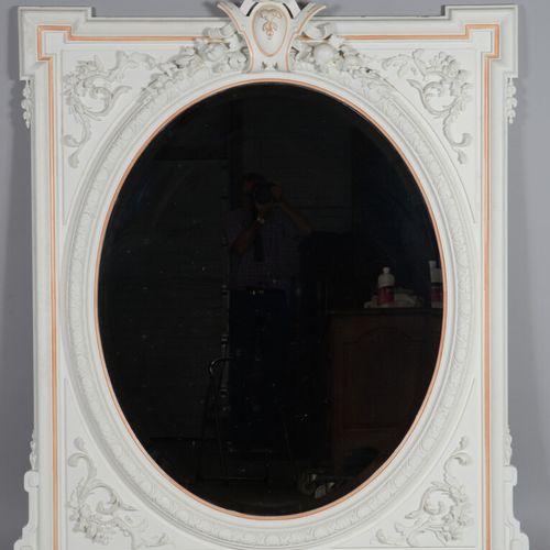 椭圆形框架的雕花木镜,装饰有树叶和花环的水果。  19世纪晚期  高度182,宽度150厘米