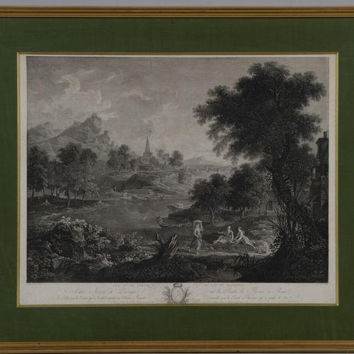 让 马蒂厄 (1749 1815)  特拉西梅内湖的一部分景观  在POUSSIN之后的黑色蚀刻画。  41 x 52 厘米