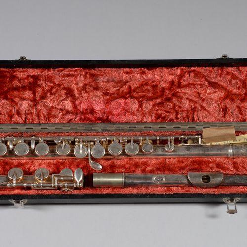 """巴黎NOBLET  镀银长笛 """" N°34950 """"。在它的盒子里。"""