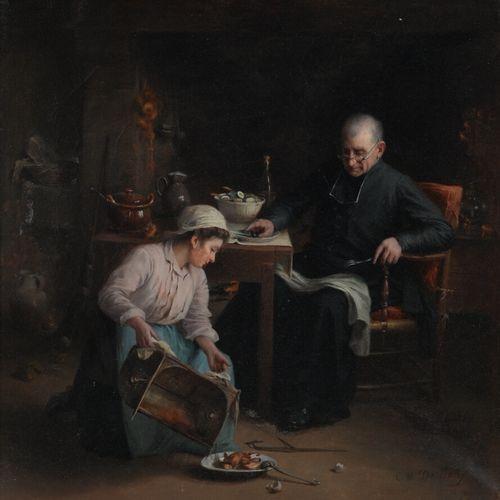 Marie DESLIENS (1856 1938)  Le repas du Curé  Huile sur toile signée en bas à dr…