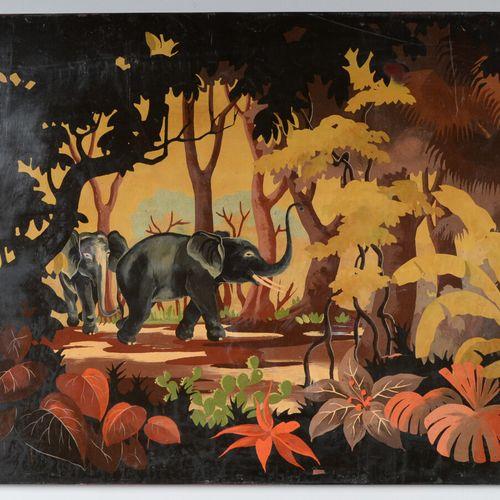 越南  表现森林中大象的漆器面板。签署了HUC。  40 x 60.5厘米  少量缺乏