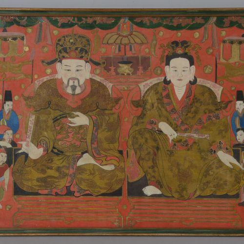 CHINE  Peinture sur papier représentant un couple princier entouré de serviteurs…