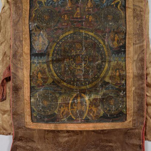 梯贝特  画在织物上的唐卡代表佛教神灵。  高42厘米,宽31.5厘米  事故