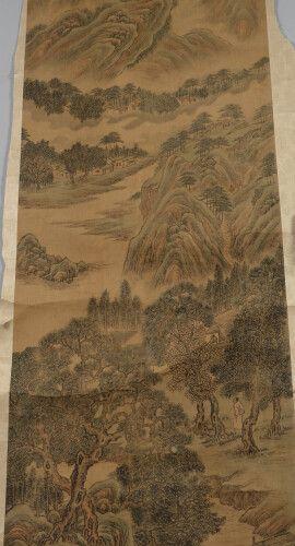 中国  在布卷上绘画,装饰有人物和诗词书法的山水图案。  高176厘米,宽46厘米