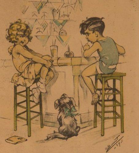 GERMAINE BOURET Lot de 13 sous verres de divers formats avec des illustrations e…